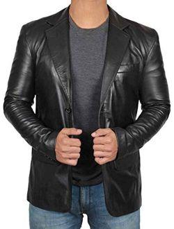 Blingsoul Mens Leather Blazer - Lambskin Leather Casual Blazer Jacket for Men