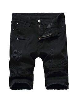 Baylvn Men's Casual Fashion Ripped Short Jeans Slim Fit Denim Short