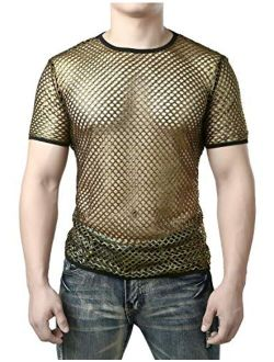 JOGAL Men's Mesh Fishnet Fitted Short Sleeve Muscle Top