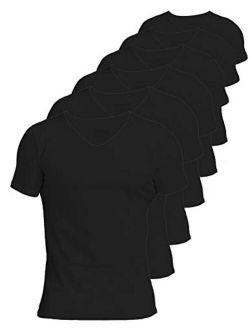 Comfneat Men's 6-Pack 100% Cotton Comfy Undershirts V-Neck T-Shirts
