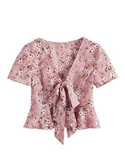 Women's Short Sleeve Deep V Neck Self Tie Front Crop Top Blouse