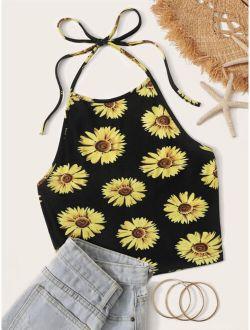 Sunflower Print Halter Crop Top