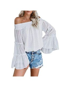Arjungo Women's Off The Shoulder Tops Long Flared Sleeve Elastic Crop Tops Blouse Shirt