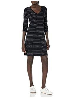 - Daily Ritual Women's Jersey Long-sleeve V-neck T-shirt Dress