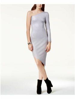 GLAM $69 Womens New 1198 Silver One Shoulder Asymmetrical Dress S B+B