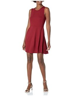 And - Lark & Ro Women's Sleeveless Wide Scoop Neck Fit And Flare Dress
