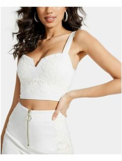 $59 Womens New 0062 White Sweetheart Neckline Crop Top Casual Top L B+b