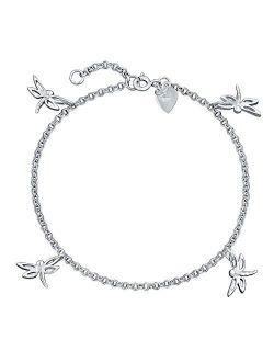 4 Multi Dragonfly Anklet Dangle Charm Ankle Bracelet For Women 925 Sterling Silver 9 To 10 In Extender