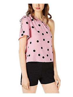 Womens Polka Dot Ruched-tie Blouse