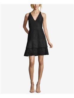 XSCAPE Womens Black Ruffled Darted Spaghetti Strap V Neck Mini Party Dress Size: 10