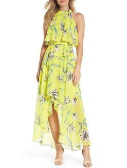 Halter Neck Chiffon Maxi Dress( Size 14)