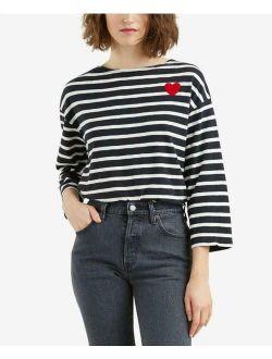 Women's Boat Neck 3/4 Sleeve Striped Heart T-shirt / Top Size L Msrp $34