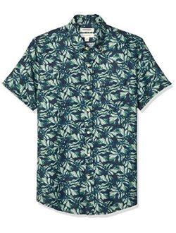 D - Goodthreads Men's Slim-fit Short-sleeve Linen And Cotton Blend Shirt