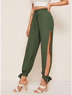 Drawstring Waist Split Thigh Side Knot Hem Pants
