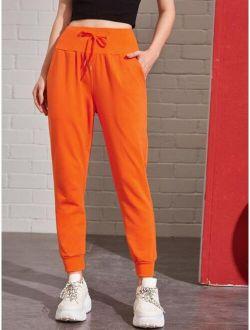 Neon Orange Drawstring Wide Waistband Joggers