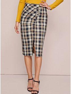 Button Front Plaid Pencil Skirt