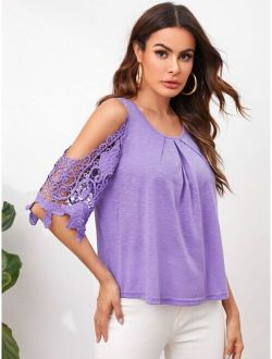 Fold Pleated Front Cold Shoulder Guipure Lace Sleeve Top