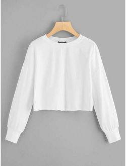 Solid Raw-Cut Cropped Pullover