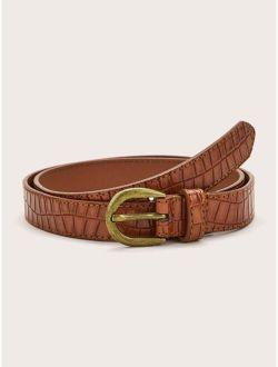 Geometric Textured PU Buckle Belt