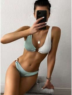Rib Ring Linked Bikini Swimsuit
