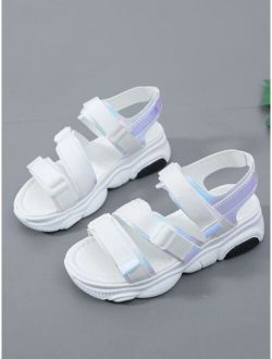 Holographic Detail Buckle Strap Chunky Sole Sandals