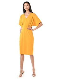 Women's Kimono Sleeve Stretch Crepe Midi Dress
