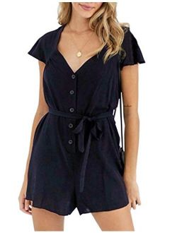 Women's Rompers Casual Short Sleeves V Neck Button Down Backless Black Tie Short Short Jumpsuit Playsuit