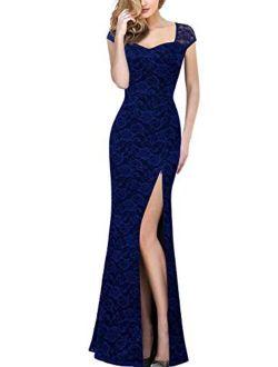 VFSHOW Womens Elegant Sweetheart Neck High Split Formal Evening Wedding Party Maxi Dress