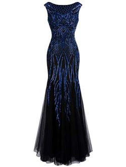 Angel-fashions Women's Pattern Sequin Bateau Cap Sleeve Flapper Mermaid Evening Dress