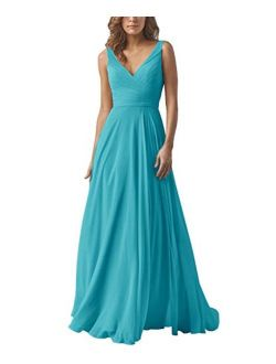 Yilis Double V-Neck Ruched Bodice A-line Bridesmaid Dress Floor Length Formal Evening Prom Gowns