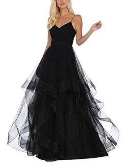 V-Neck Prom Dresses Long Glitter Tulle Spaghetti Ball Gown Wedding Dress for Women Party