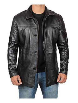 Mens Black Leather Jacket | Real Lambskin Jackets Car Coat