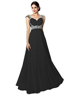Sarahbridal Women's Chiffon Long Prom Dress Beaded Sequin Bridesmaid Gowns Cap Sleeve