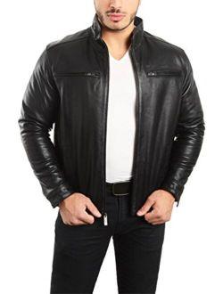 REED EST. 1950 Men's Jacket Genuine Lambskin Leather Stand UP Collar Winners Coat
