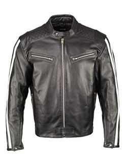 M Boss Motorcycle Apparel BOS11508 Mens Black and White Armored Leather Jacket with Racing Stripes