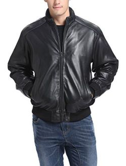 BGSD Men's Black Lambskin Leather Bomber Jacket (Regular and Big and Tall Sizes)