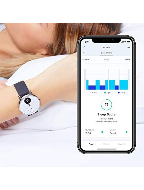 Withings Steel HR - Hybrid Smartwatch - Activity Tracker with Connected GPS, Heart Rate Monitor, Sleep Monitor, Smart Notifications, Water Resistant with 25-Day Battery L