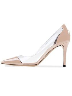 Sammitop Women's 80mm Pointed Toe Transparent Pumps Clear PVC High Heels Shoes
