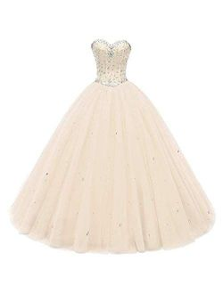 Likedpage Women's Sweetheart Ball Gown Tulle Quinceanera Dresses Prom Dress
