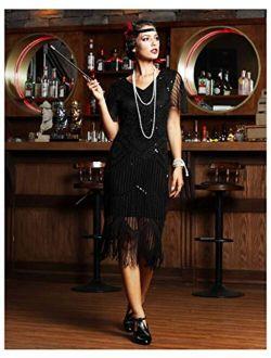 Women's 1920s Flapper Dress Short Sleeve Glitter Sequin Inspired Fringed Party Cocktail Dresses