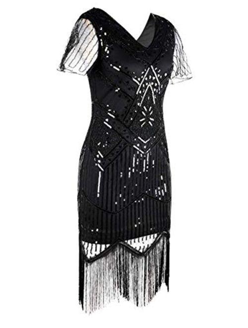 PrettyGuide Women's 1920s Flapper Dress Short Sleeve Glitter Sequin Inspired Fringed Party Cocktail Dresses