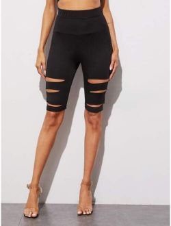 Wide Band Waist Ripped Biker Shorts