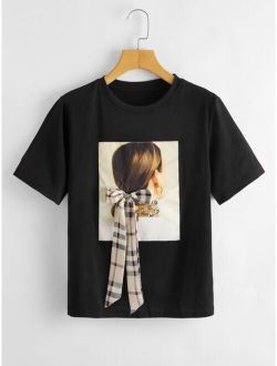 Figure Graphic Bow Front Tee