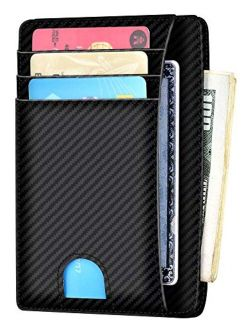 Slim Minimalist Wallet RFID Front Pocket Wallet Thin Credit Card Holder for Men Women