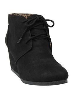 MVE Black Faux Leather Lice Up Ankle High Heel Wedges Booties