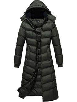 U2Wear Women's Water Resistance Puffer Winter Full Length Coat with Hood