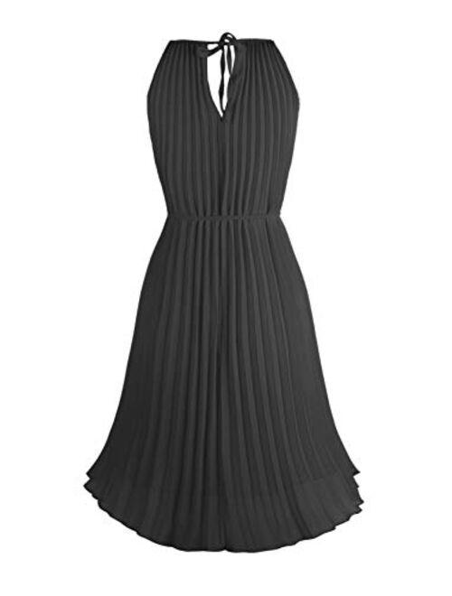 Converse Ellames Women's Summer Spaghetti Strap Pleated Casual Swing Midi Dress with Belt