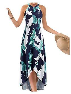 STYLEWORD Women's Halter Neck Sleeveless Casual Summer Beach Front Split Floral Maxi Long Dress