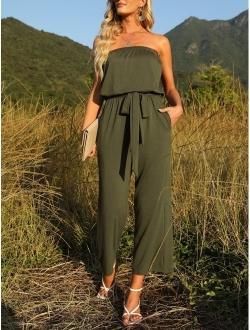Women's Casual Off Shoulder Solid Color Strapless Belted Wide Leg Jumpsuit Romper