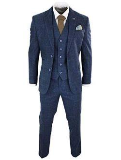 Mens 3 Piece Navy Blue Suit Tweed Check 1920's Peaky Blinders Tailored Fit Vintage